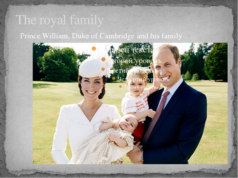 The royal family Prince William, Duke of Cambridge and his family
