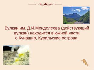 Вулкан им. Д.И.Менделеева (действующий вулкан) находится в южной части о.Куна