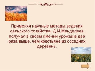 Применяя научные методы ведения сельского хозяйства, Д.И.Менделеев получал в