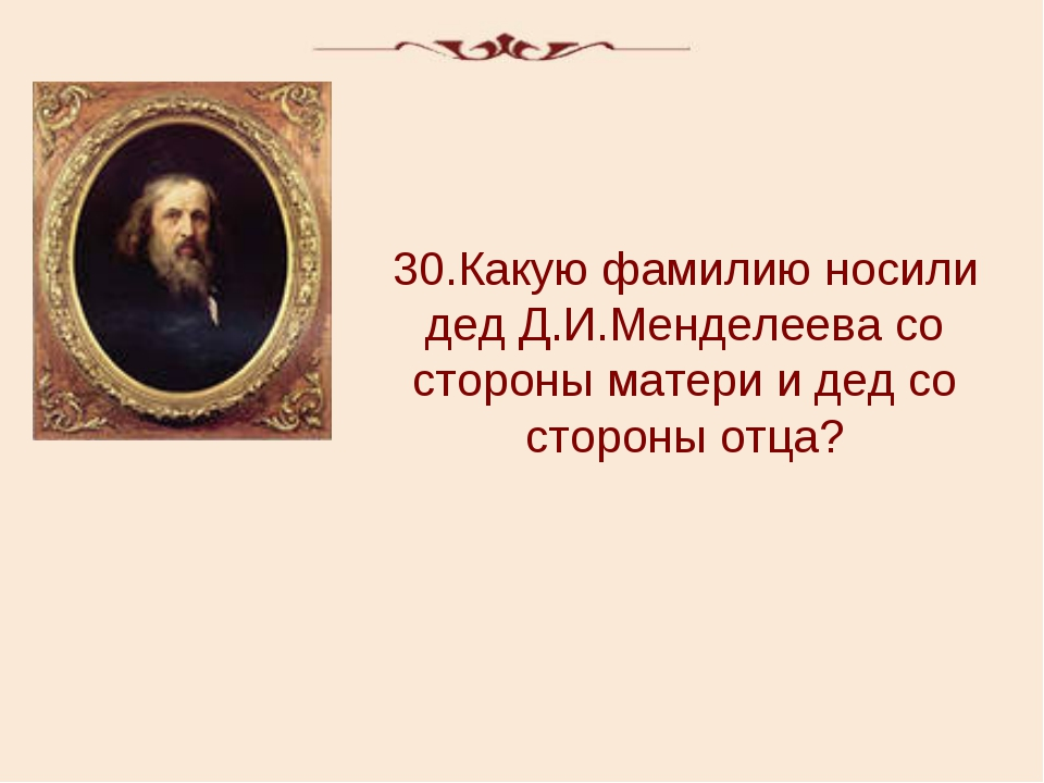 30.Какую фамилию носили дед Д.И.Менделеева со стороны матери и дед со стороны...