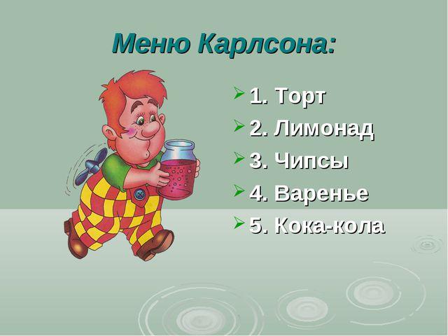 Меню Карлсона: 1. Торт 2. Лимонад 3. Чипсы 4. Варенье 5. Кока-кола