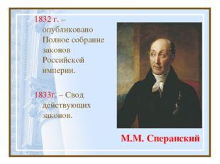 М.М. Сперанский 1832 г. – опубликовано Полное собрание законов Российской имп