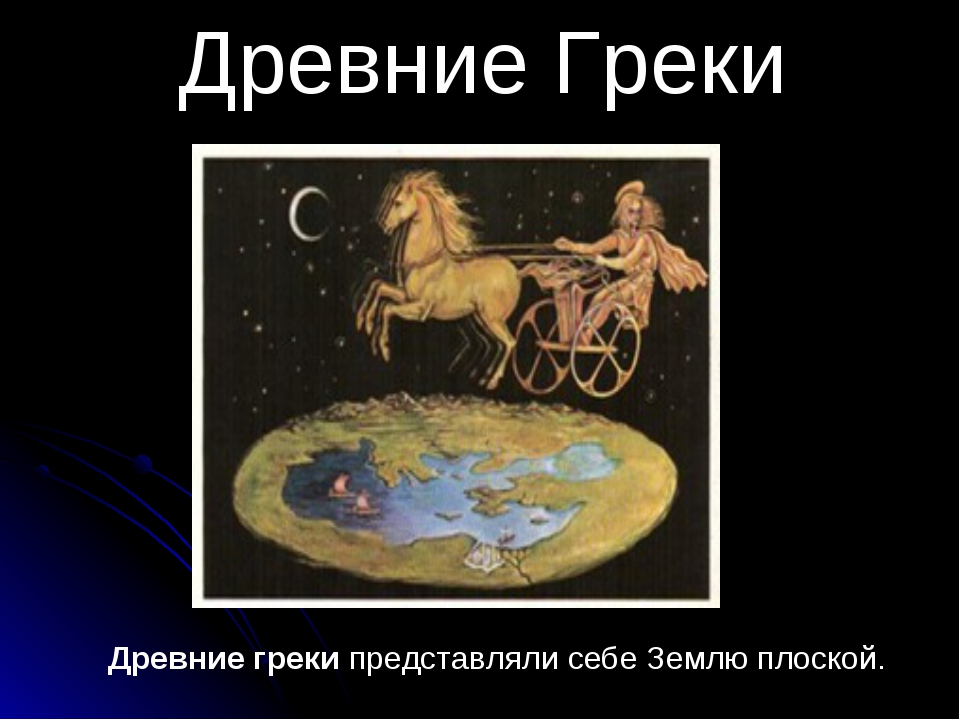 Древние греки представляли себе Землю плоской. Древние Греки
