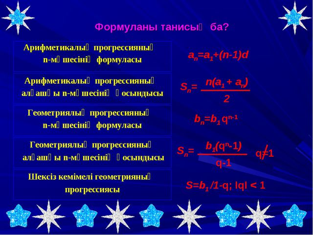 Арифметикалық прогрессияның n-мүшесінің формуласы Формуланы танисың ба? Арифм...