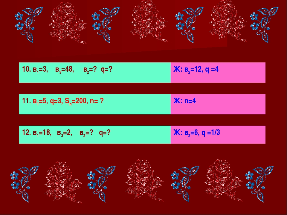 10. в1=3, в3=48, в2=? q=? Ж: в2=12, q =4 11. в1=5, q=3, Sn=200, n= ? Ж: n=4 1...
