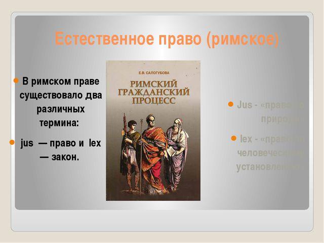 Естественное право (римское) В римском праве существовало два различных терми...