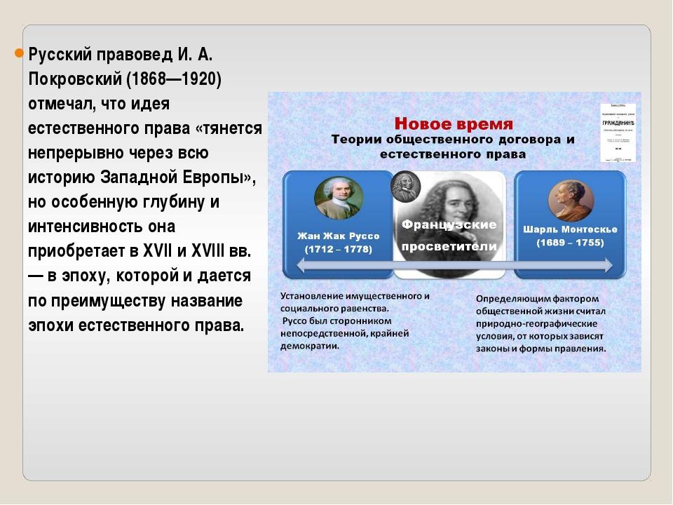 Русский правовед И. А. Покровский (1868—1920) отмечал, что идея естественного...