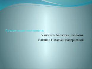 Презентация составлена: Учителем биологии, экологии Елгиной Натальей Валерие