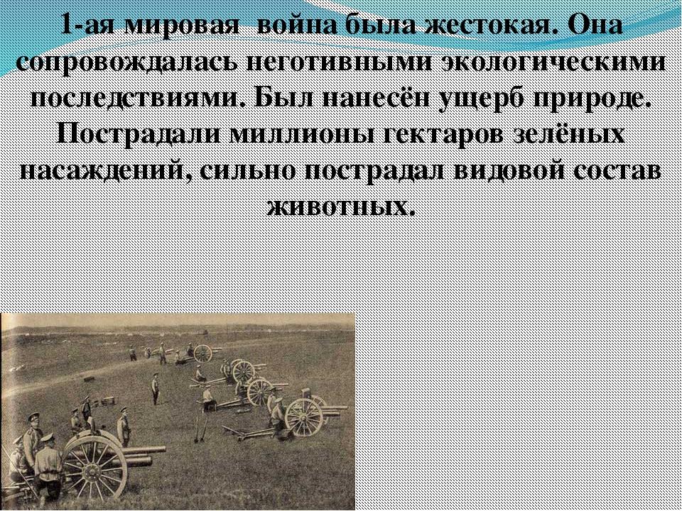 1-ая мировая война была жестокая. Она сопровождалась неготивными экологически...