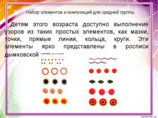 Набор элементов и композиций для средней группы. Детям этого возраста доступн
