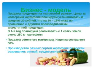Продажа продукции на «колхозном рынке». Цены за килограмм картофеля планируем