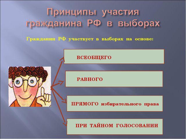 Гражданин РФ участвует в выборах на основе: ВСЕОБЩЕГО РАВНОГО ПРЯМОГО избира...