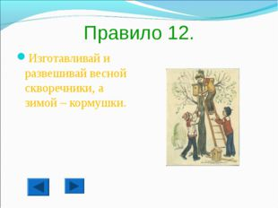 Правило 12. Изготавливай и развешивай весной скворечники, а зимой – кормушки.