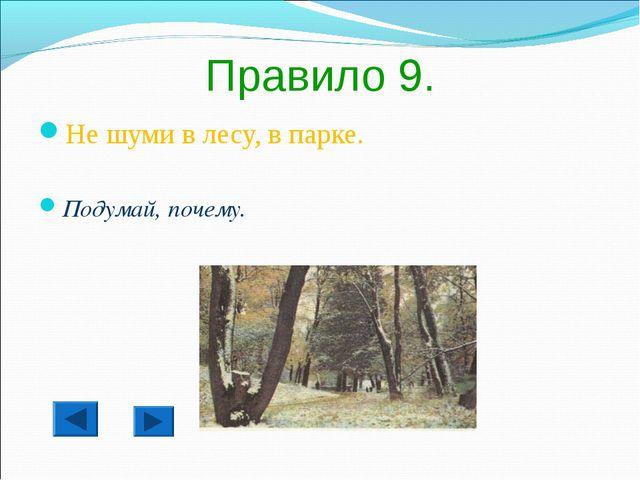 Правило 9. Не шуми в лесу, в парке. Подумай, почему.