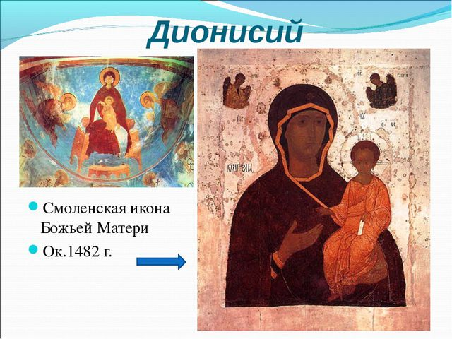 Дионисий Смоленская икона Божьей Матери Ок.1482 г.