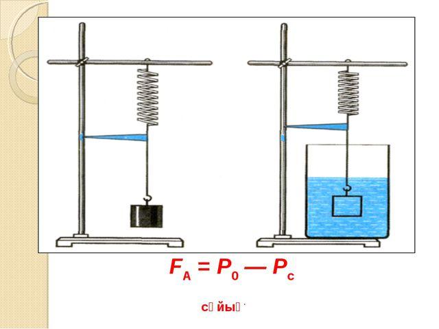 FА = Р0 — Рс сұйық.