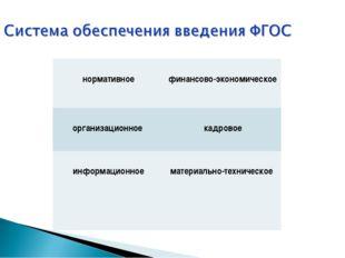 нормативное  финансово-экономическое организационное  кадровое информацион