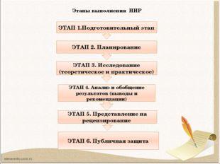 Этапы выполнения НИР ЭТАП 1.Подготовительный этап ЭТАП 2. Планирование ЭТАП 3