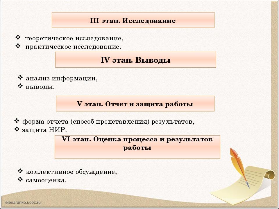 ІІІ этап. Исследование теоретическое исследование, практическое исследование...