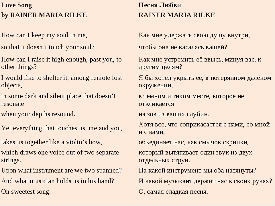 Love SongПесня Любви by RAINER MARIA RILKERAINER MARIA RILKE  How can I k...