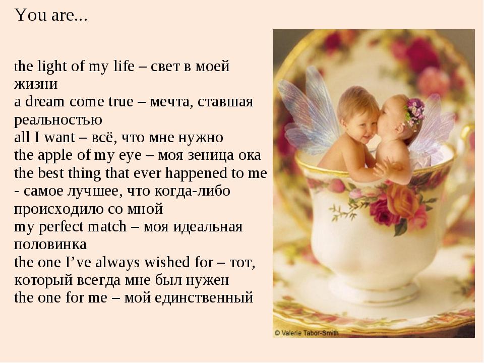 You are... the light of my life – свет в моей жизни a dream come true – мечта...
