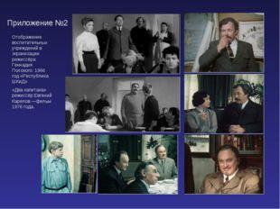 Приложение №2 Отображение воспитательных учреждений в экранизации режиссёра Г