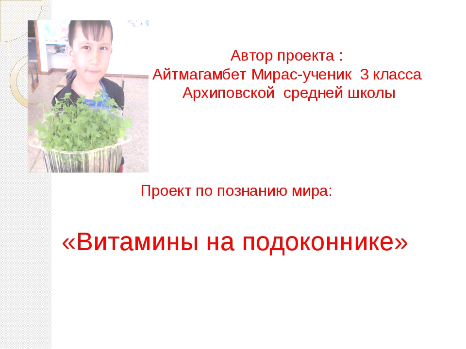 Автор проекта : Айтмагамбет Мирас-ученик 3 класса Архиповской средней школы...