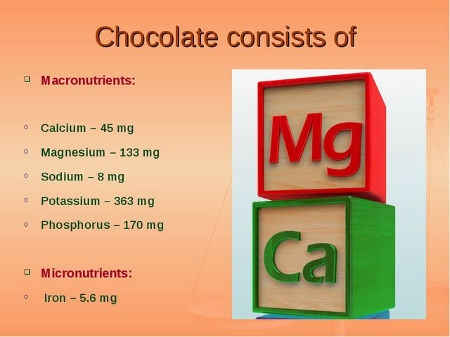 Chocolate consists of Macronutrients: Calcium – 45 mg Magnesium – 133 mg Sodi...
