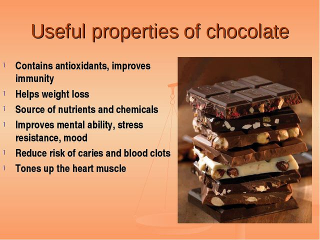 Useful properties of chocolate Contains antioxidants, improves immunity Helps...
