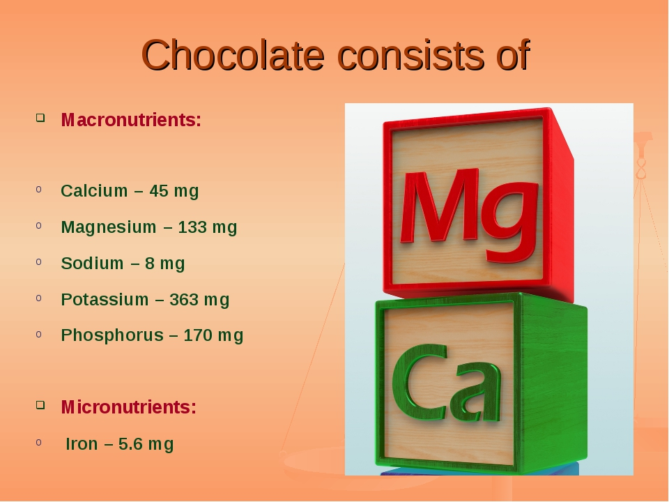 Chocolate consists of Macronutrients: Calcium – 45 mg Magnesium – 133 mg Sodi...