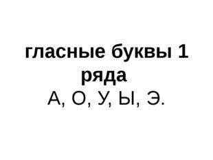 гласные буквы 1 ряда А, О, У, Ы, Э.