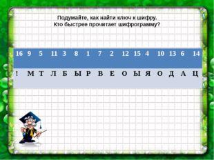 Подумайте, как найти ключ к шифру. Кто быстрее прочитает шифрограмму? 16 9 5