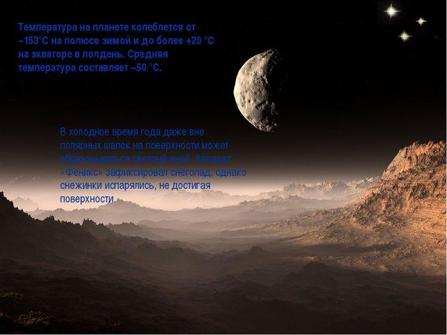 Температура на планете колеблется от −153°C на полюсе зимой и до более +20 °C...
