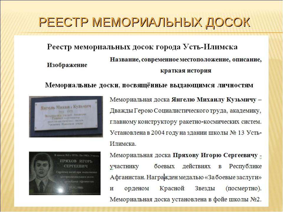 РЕЕСТР МЕМОРИАЛЬНЫХ ДОСОК