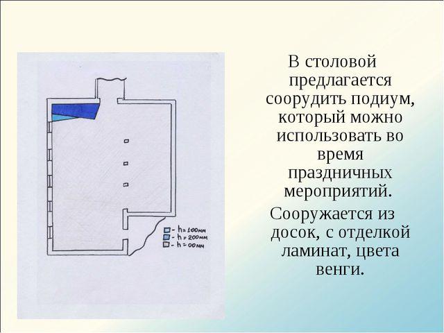 В столовой предлагается соорудить подиум, который можно использовать во время...