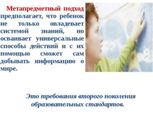 Метапредметный подход предполагает, что ребенок не только овладевает системой