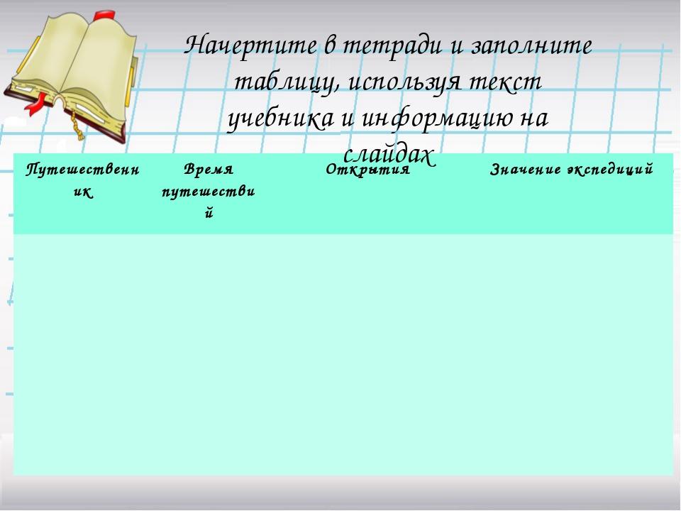 Начертите в тетради и заполните таблицу, используя текст учебника и информаци...