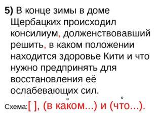 5) В конце зимы в доме Щербацких происходил консилиум, долженствовавший решит