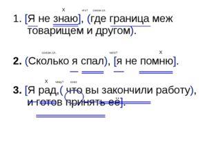 X что? союзн.сл. 1. [Я не знаю], (где граница меж товарищем и другом). союзн