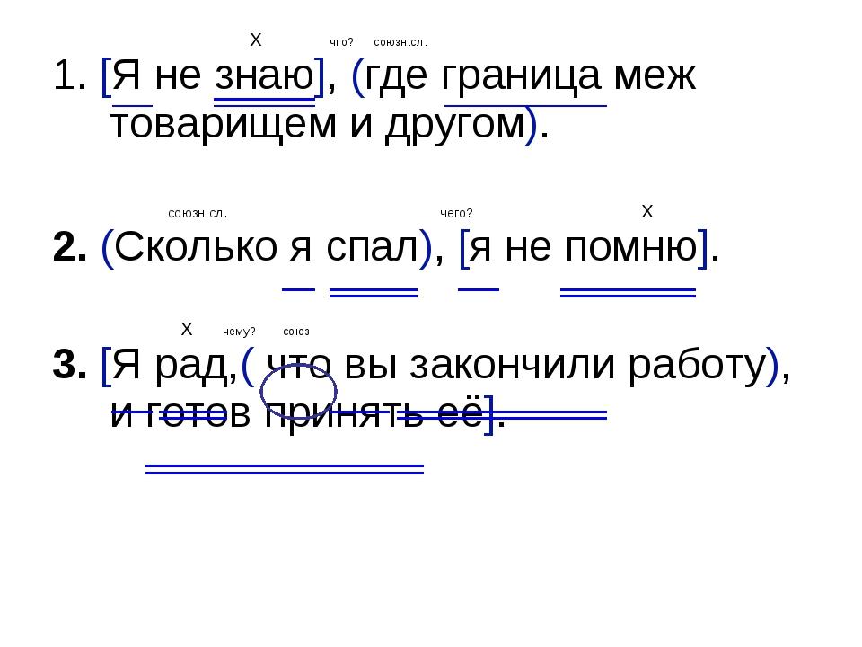 X что? союзн.сл. 1. [Я не знаю], (где граница меж товарищем и другом). союзн...