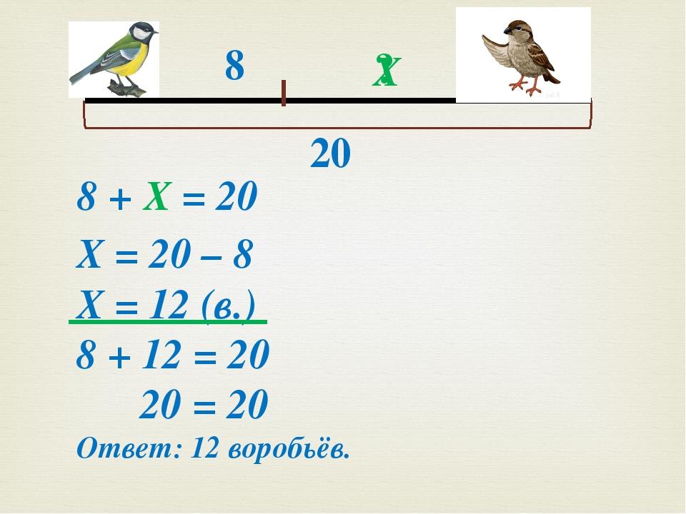 8 ? 20 Х 8 + Х = 20 Х = 20 – 8 Х = 12 (в.) 8 + 12 = 20 20 = 20 Ответ: 12 вор...
