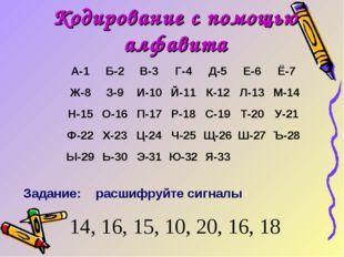 Кодирование с помощью алфавита Задание: расшифруйте сигналы 14, 16, 15, 10, 2