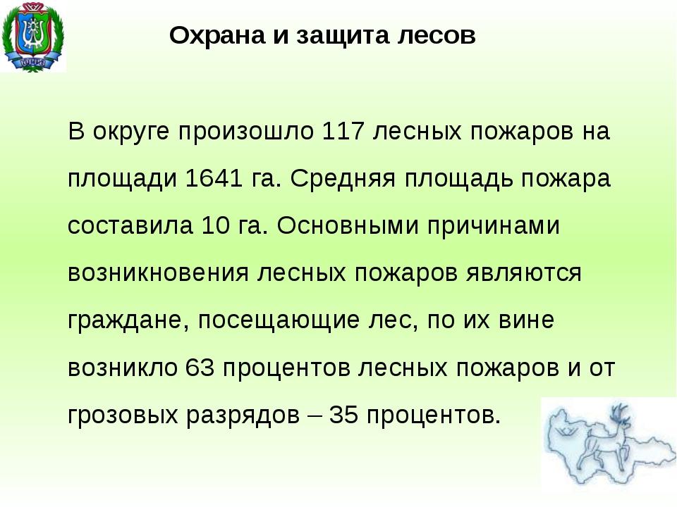 В округе произошло 117 лесных пожаров на площади 1641 га. Средняя площадь пож...