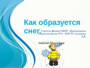 Как образуется снег. Учитель физики МБОУ «Васильевская кадетская школа №1» ЗМ