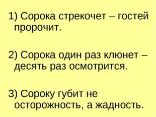 1) Сорока стрекочет – гостей пророчит. 2) Сорока один раз клюнет – десять раз