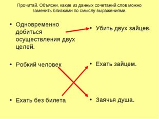 Прочитай. Объясни, какие из данных сочетаний слов можно заменить близкими по