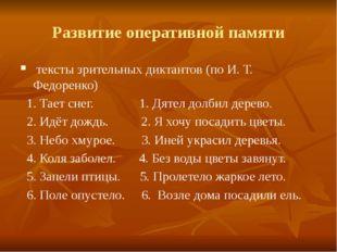 Развитие оперативной памяти тексты зрительных диктантов (по И. Т. Федоренко)