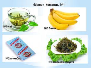 №1-чай №2 пломбир №3 банан №4 морская капуста «Меню» команды №1
