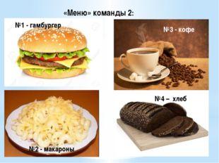 «Меню» команды 2: №1 - гамбургер №2 - макароны №3 - кофе №4 – хлеб