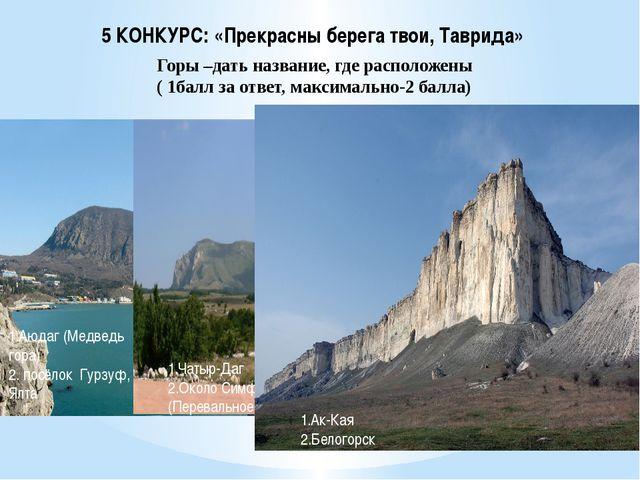 5 КОНКУРС: «Прекрасны берега твои, Таврида» Горы –дать название, где располож...